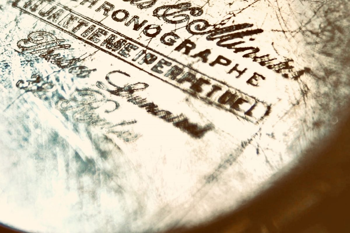 Old chronographie brand engraving